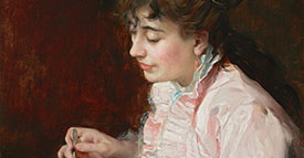 Raimundo de Madrazo y Garreta (Spanish, 1841-1920), Portrait of a Lady (detail), 1890-91. Oil on cradled panel. Meadows Museum, SMU, Dallas