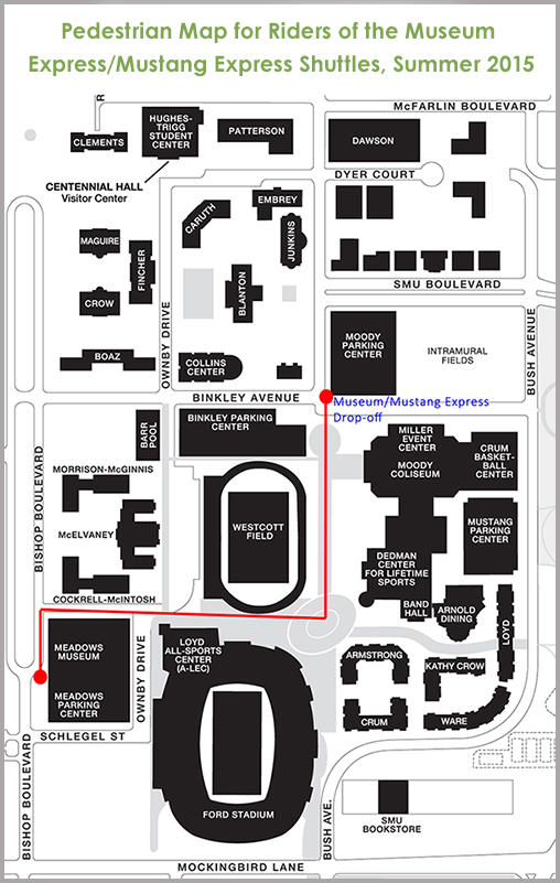 Pedestrian map for riders of the Museum Express/Mustang Express Shuttles - summer 2015